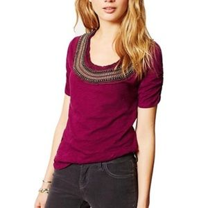 Deletta Anthro Burgundy Jewelscape embellished Top